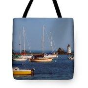 Boating On Long Island Sound Tote Bag by Joann Vitali