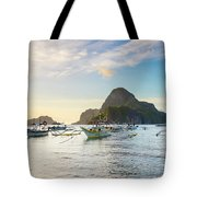 Boats Anchored In Bacuit Bay And Cadlao Tote Bag