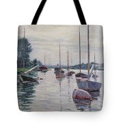 Boats Anchored On The Seine Tote Bag by Gustave Caillebotte