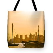 Boats And Skyscrapers Tote Bag