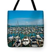 Boats At Bay Tote Bag