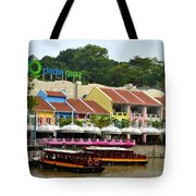 Boats At Clarke Quay Singapore River Tote Bag