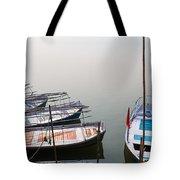 Boats At Sangam Tote Bag