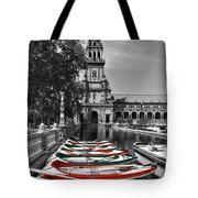 Boats By The Plaza De Espana Seville Tote Bag by Mary Machare