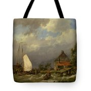 Boats Docking In An Estuary Tote Bag