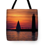 Boats Entering The Channel At The Muskegon Lighthouse Tote Bag