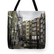 Boats In Canal Amsterdam Tote Bag