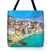 Boats In Front Of Buildings Viii Tote Bag by Xueling Zou