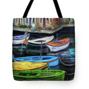 Boats In Front Of The Buildings II Tote Bag
