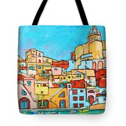 Boats In Front Of The Buildings Vii Tote Bag
