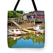 Boats In Halls Harbour-nova Scotia  Tote Bag