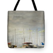 Boats In Harbor Reflection Tote Bag