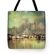 Boats In Harbour Tote Bag