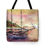 Boats In Sunset  Tote Bag