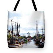Boats In The Old Harbor Tote Bag