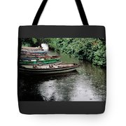 Boats In The Rain Ross Castle Ireland Tote Bag