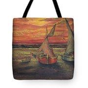 Boats In The Sea Tote Bag