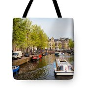 Boats On Canal Tour In Amsterdam Tote Bag