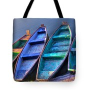 Boats On River Tote Bag