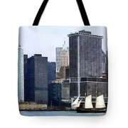 Boats - Schooner Against The Manhattan Skyline Tote Bag