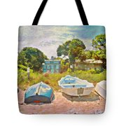 Boats Up On The Beach - Horizontal Tote Bag