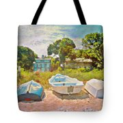 Boats Up On The Beach - Square Tote Bag