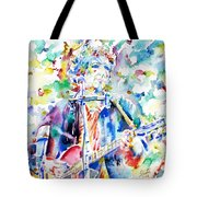 Bob Dylan Playing The Guitar - Watercolor Portrait.1 Tote Bag