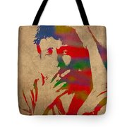 Bob Dylan Watercolor Portrait On Worn Distressed Canvas Tote Bag by Design Turnpike