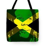Bob Marley On Jamaican Flag Tote Bag