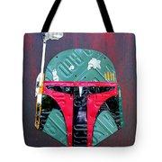 Boba Fett Star Wars Bounty Hunter Helmet Recycled License Plate Art Tote Bag