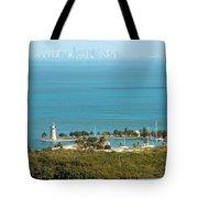 Boca Chita Lighthouse And Miami Skyline Tote Bag