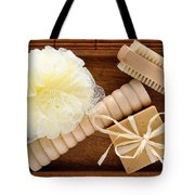 Body Care Accessories In Wood Tray Tote Bag