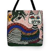 Boho Cat And Flowers Tote Bag
