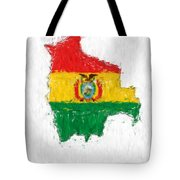 Bolivia Painted Flag Map Tote Bag