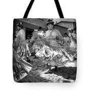 Bolivian Dance Framed Black And White Tote Bag