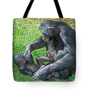 Bonobo Adult Playing With Baby Tote Bag
