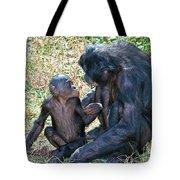 Bonobo Adult Talking To Juvenile Tote Bag