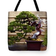 Bonsai Tree And Bamboo Fence Tote Bag by Elaine Plesser