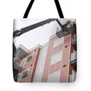 Boom Lift Worker Work Apartment Highrise Exterior Tote Bag