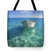 Bora Bora White Boat Tote Bag