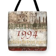 Bordeaux Blanc Label 2 Tote Bag by Debbie DeWitt