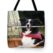 Border Collie At Painting Easel Tote Bag