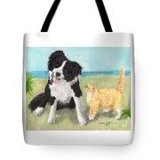 Border Collie Dog Orange Tabby Cat Art Tote Bag