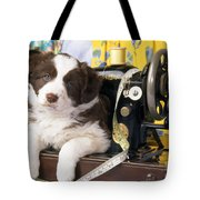 Border Collie Puppy With Sewing Machine Tote Bag