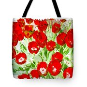Bordered Red Tulips Tote Bag