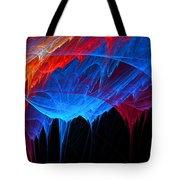 Borealis - Blue And Red Abstract Tote Bag