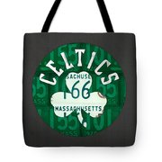 Boston Celtics Basketball Team Retro Logo Vintage Recycled Massachusetts License Plate Art Tote Bag
