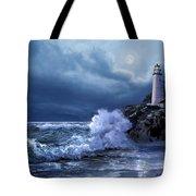 Boston Harbor Lighthouse Moonlight Scene Tote Bag