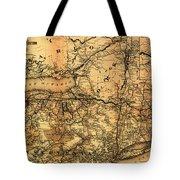 Boston Hoosac Tunnel And Western Railway Map 1881 Tote Bag