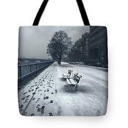 Boston Longfellow Bridge-snow Cityscape V2 Tote Bag